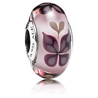 Шарм муранское стекло розовая бабочка (pandora) из серебра 925 пробы пандора