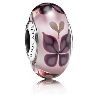 Шарм муранское стекло «Розовая бабочка» в стиле Pandora