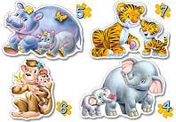 Пазлы Castorland 4х 04126 23*16,5 Слон Тигр Бегемот ...