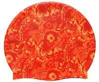 Шапочка для плавания «Цветы», цвет оранжевый/красный, фото 1