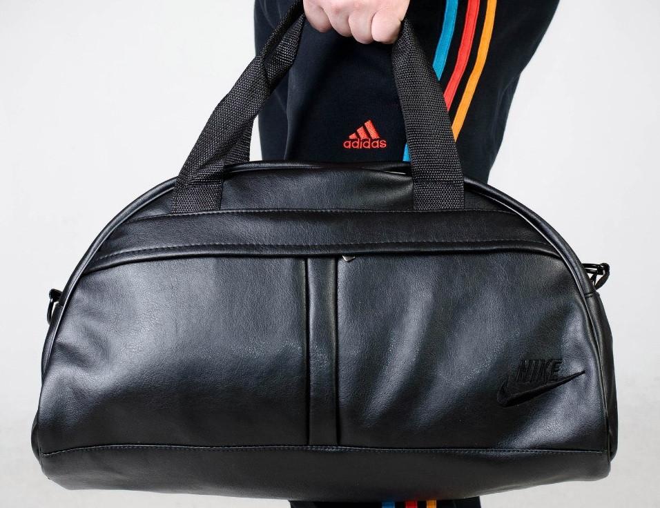 Сумка  Nike зам. кожа черный  логотип -реплика