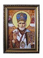 Икона из янтаря Николай Чудотворец (Картины и иконы из янтаря)