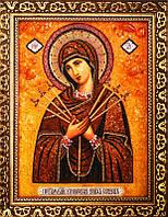 Икона из янтаря Богородица Семистрельная (Картины и иконы из янтаря)
