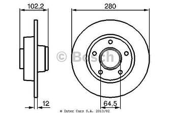 Тормозной диск задний на Renault Trafic  2001->  — BOSCH (Германия) - 0 986 479 144