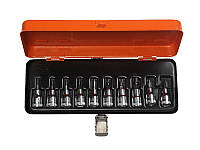 """Набор головок торцевых 1/2"""" с отверточной вставкой под винты TORX T20 - T55; CrV сталь; чемодан;10 шт."""