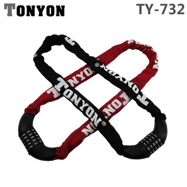 Цепь противоугонная (велозамок) TONYON TY732 кодовая 0,9м ∅5мм