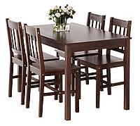 Комплект кухонный из дерева ( стол + 4 стула) кофейный