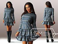 Молодежное платье в клетку с двойными рюшами на юбке . Арт-3264/23