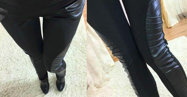 Черные лосины с кожаными вставками по бокам