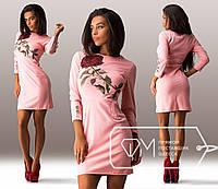 Красивое короткое персиковое платье Роза . Арт-3265/23