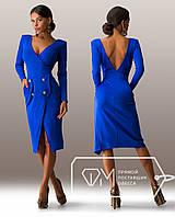 Элегантное синее платье в деловом стиле с открытой спиной . Арт-3266/23, фото 1