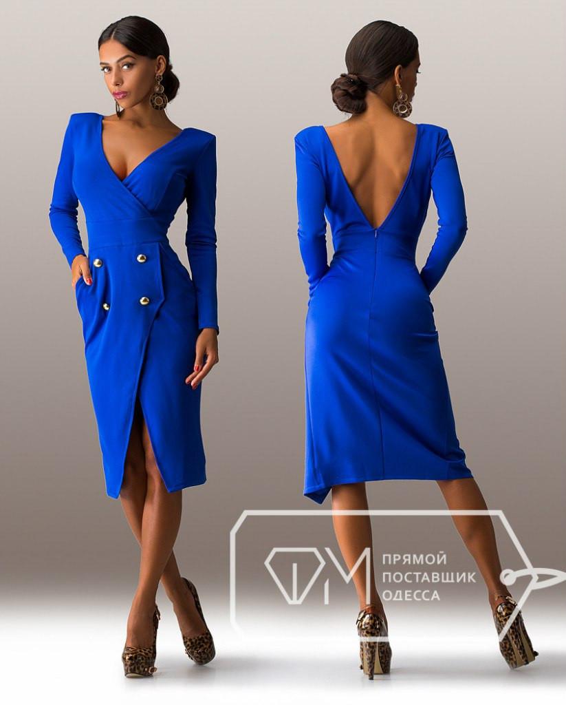 ce2b843d99f Элегантное синее платье в деловом стиле с открытой спиной . Арт-3266 23 -