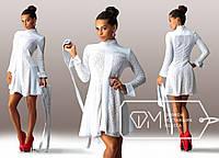 Красивое вечернее белое платье с кожаным поясом. Арт-3267/23