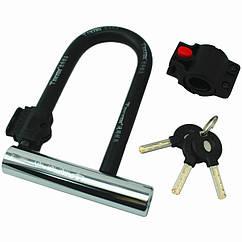 Велозамок U-образный TONYON TY3782B под ключ с быстросъёмным креплением на раму, U-LOCK