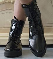 Лаковые теплые женские ботинки на шнурках и молнии на тракторной подошве на меху