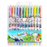 Набір гелевих ручок в PVC 12 кольорів Аеро з блискітками JO 558А-12