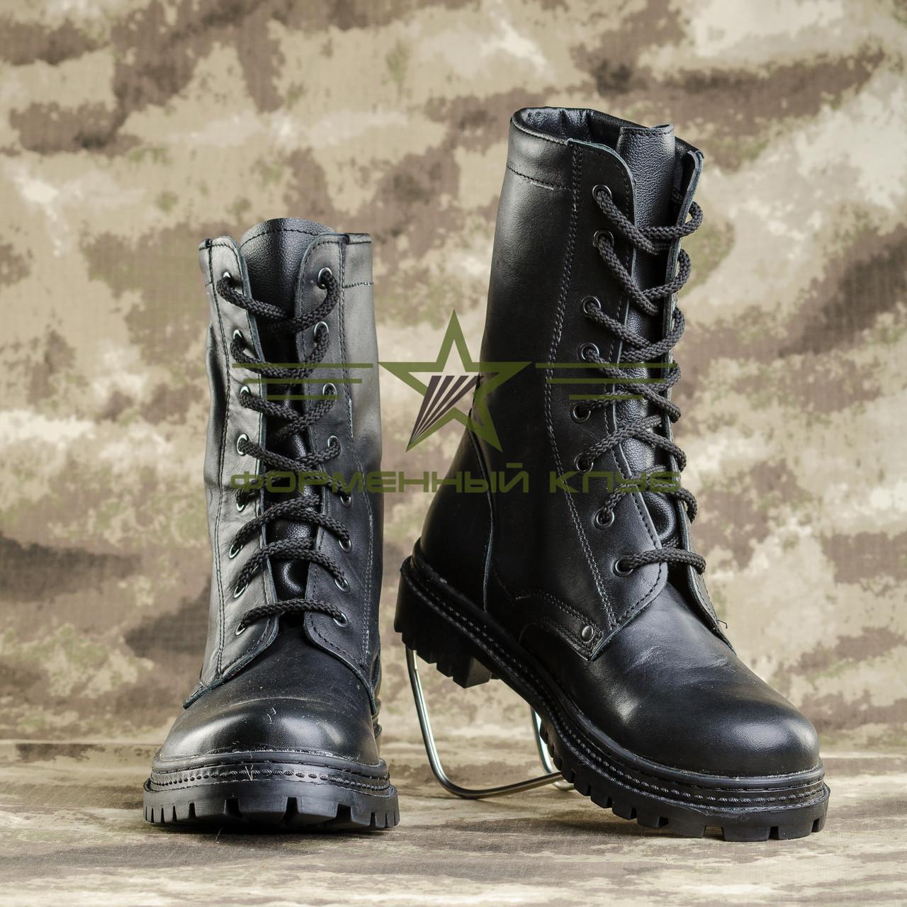 Берцы НАТО натуральная кожа черные