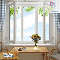 Трехстворчатые окна две поворотно-откидные створки Veka Киев, фото 1