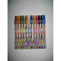 Набір гелевих ручок в PVC 12 кольорів Принцеси з блискітками JO 8002-12Р