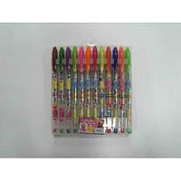 Набір гелевих ручок в PVC 12 кольорів Принцеси з блискітками JO 8604-12W