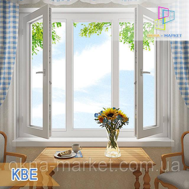 Трехстворчатое окно с двумя открывающимися створками КВЕ в Киеве