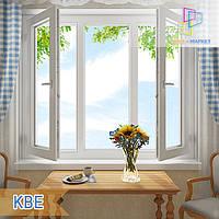 Трехстворчатое окно с двумя открывающимися створками КВЕ в Киеве , фото 1