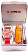 Стильный набор часы и нож Wenger Swiss Watch + Swiss Army Folding Knife 01 441 111 оранжевый