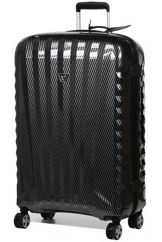 Шикарный прочный дорожный пластиковый чемодан 113 л. Roncato UNO ZIP Deluxe 5211/95/95 карбон (черный)