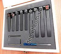 Набор токарных резцов по металлу Optimum (9 шт) 12х12 мм со сменными пластинами из цементированного карбида