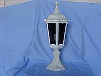 """Светильник """"Вега-3"""" парковый дизайн, металлический белый, стекло дымчатое, фигурный корпус"""