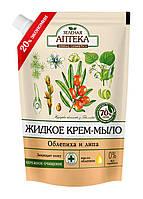 Жидкое крем-мыло Зеленая Аптека Облепиха и липа Дой-пак - 460 мл.
