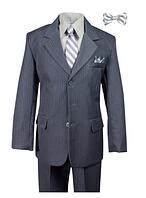 Нарядный выпускной серый костюм пятёрка в полоску