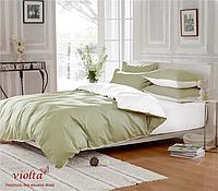 Комплект постельного белья, семейный, сатин, оливковый белый, однотонный