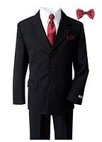 Нарядный выпускной чёрный костюм пятёрка в полоску