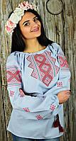 Женская вышитая сорочка голубого цвета с красным ромбовидным орнаментом «Возрождение», фото 1