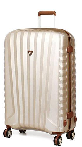 Прочный очаровательный пластиковый чемодан 113 л. Roncato UNO ZIP Deluxe 5211/04/26 шампань с бежевым