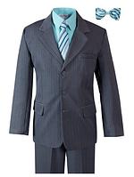 Нарядный однобортный серый костюм пятёрка в полоску