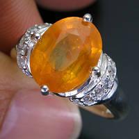Кольцо серебро 925 пробы желтый сапфир 5,55 карат, фото 1