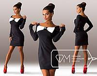 Красивое стильное черное  платье с бантом на груди. Арт-3274/23