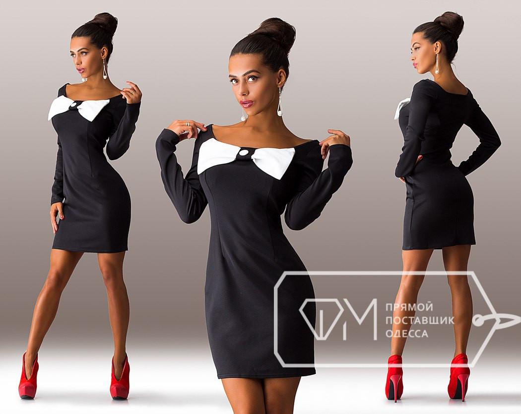 851d6d7e643 Красивое стильное черное платье с бантом на груди. Арт-3274 23 - Интернет