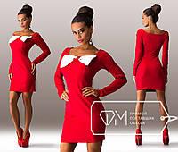 Красивое стильное красное платье с бантом на груди. Арт-3274/23