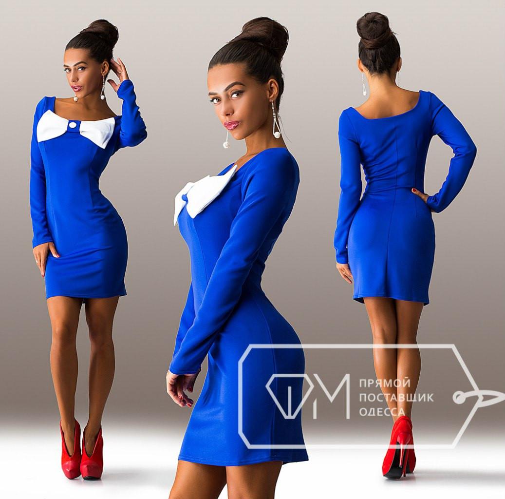 167bc030b45 Красивое стильное синее платье с бантом на груди. Арт-3274 23 - Интернет