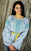 Женская блуза с сине-желтой вышивкой в украинском стиле «Возрождение», фото 1