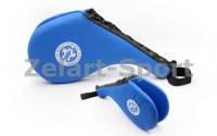 Ракетка для таеквондо Двойная PU WTF BO-4746 Хлопушка (наполнитель-пенополиуретан, синий)