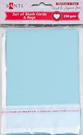 Набор голубых заготовок для открыток, 10см*15см, 230г/м2, 5шт.