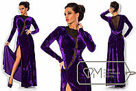 Красивое вечернее фиолетовое бархатное длинное платье  . Арт-3289/23