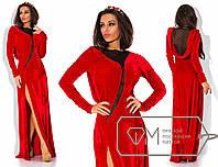 Красивое вечернее красное бархатное длинное платье  . Арт-3289/23