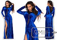 Красивое вечернее синее бархатное длинное платье  . Арт-3289/23