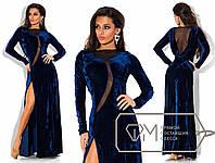 Красивое вечернее темно-синее бархатное длинное платье  . Арт-3289/23