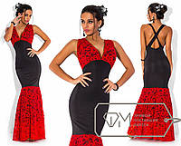 Красивое вечернее красно/черное длинное платье  . Арт-3290/23